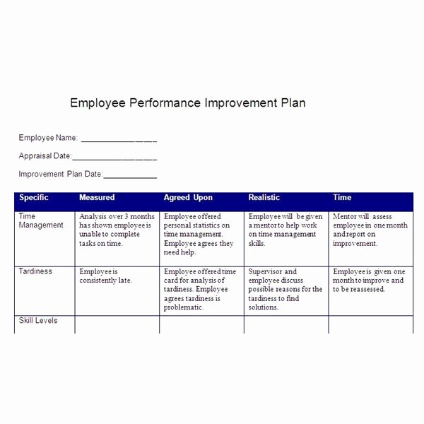 Employee Performance Improvement Plan Template Awesome Create A Performance Improvement Plan Based On Smart Goals