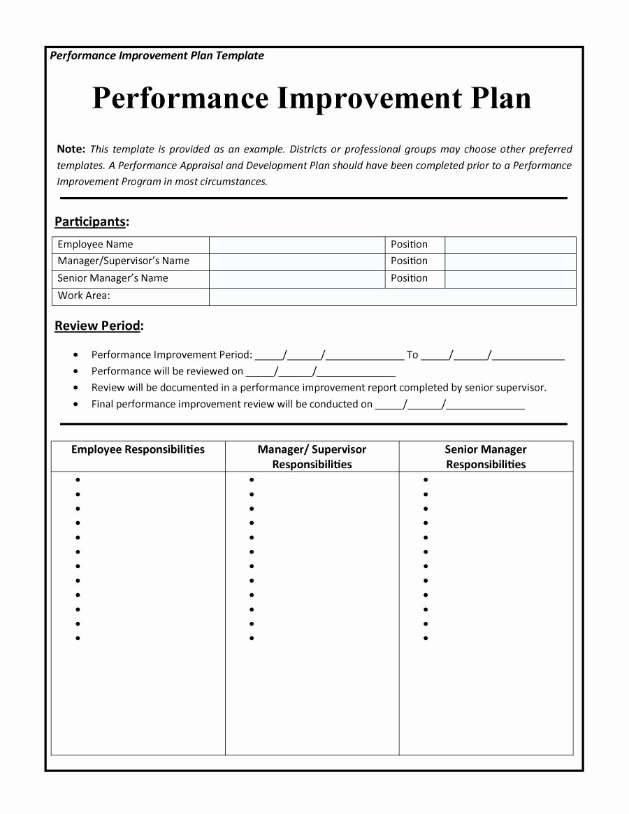 Employee Performance Improvement Plan Template Elegant 40 Performance Improvement Plan Templates & Examples