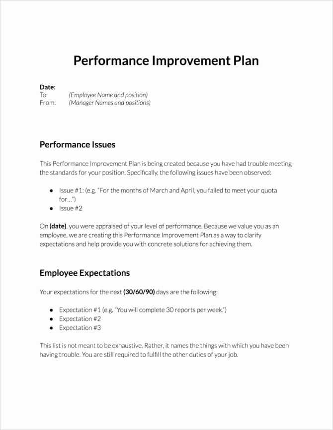 Employee Performance Improvement Plan Template Lovely Employee the Month Checklist Criteria Template north