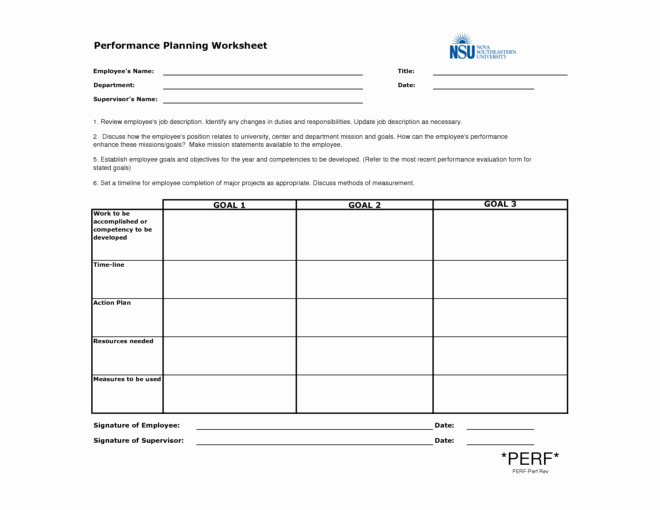 Employee Performance Improvement Plan Template Luxury Employee Performance Planning Worksheet Template Example