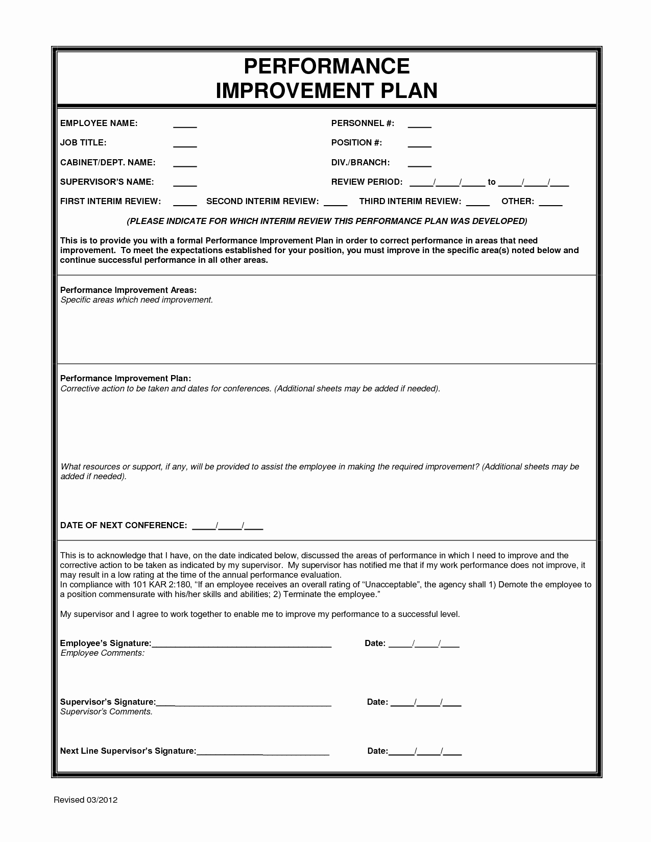 Employee Performance Improvement Plan Template Unique Blank Employee Performance Action Plan form and Template