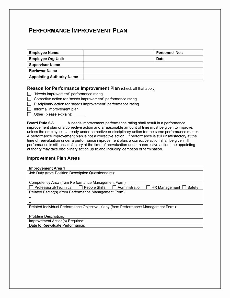 Employee Performance Plan Template Fresh Employee Performance Improvement Template to Pin