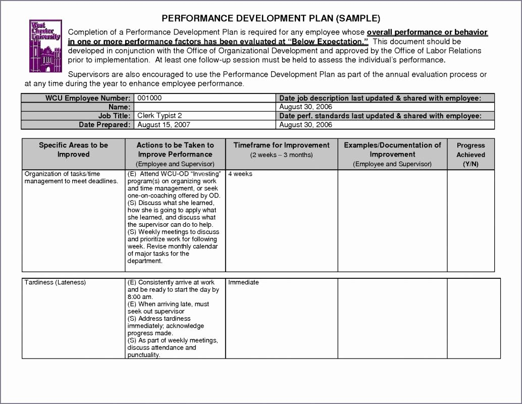 Employee Performance Plan Template Fresh Performance Improvement Plan Examples