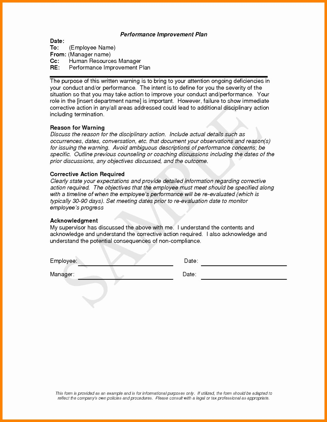 Employee Performance Plan Template Luxury Performance Improvement Plan Letter Template Examples