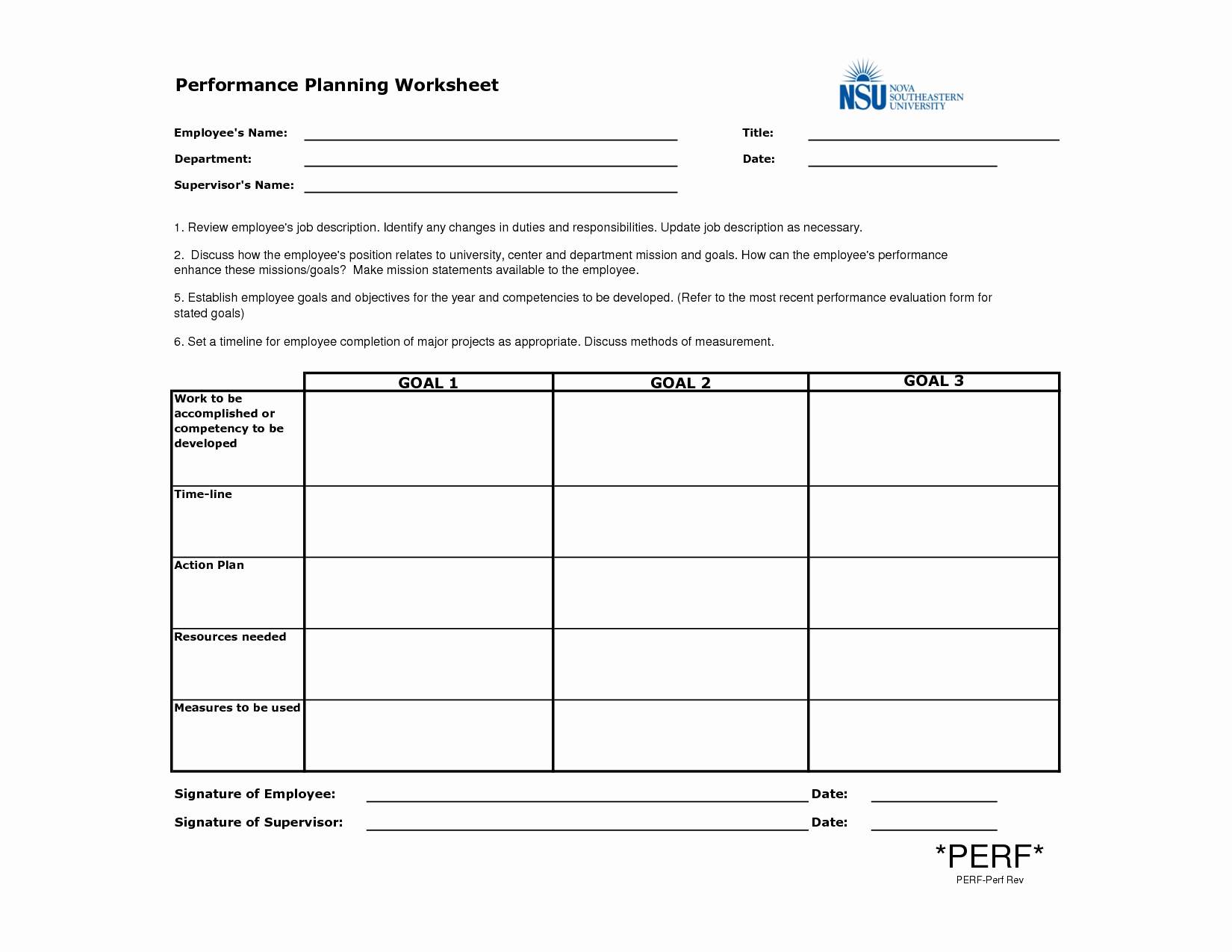 Employee Performance Plan Template New Employee Performance Planning Worksheet Template Example