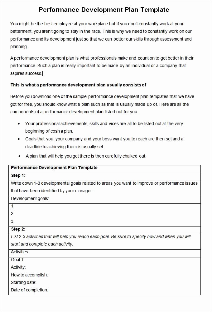 Employee Performance Plan Template Unique Performance Development Plan Template Development Plan