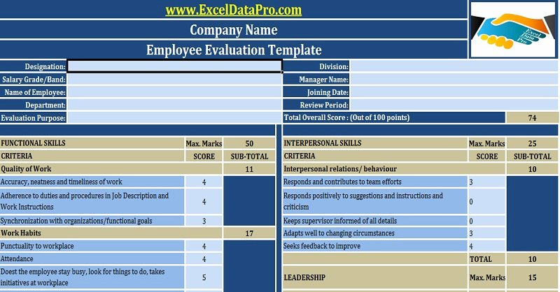 Employee Performance Review Template Excel Awesome Download Employee Evaluation or Employee Performance