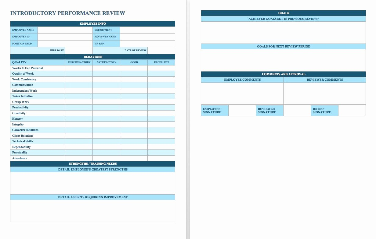 Employee Performance Review Template Excel Awesome Free Employee Performance Review Templates Smartsheet