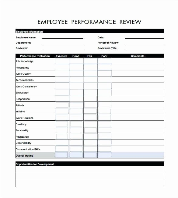 Employee Performance Review Template Excel Awesome Self Performance Evaluation Template – Ooojo