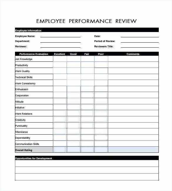 Employee Performance Review Template Excel Beautiful Employee Performance Review Template Magnificent Self