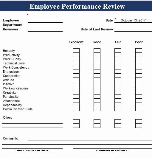 Employee Performance Review Template Excel Best Of Simple Employee Performance Review Template Excel and Word