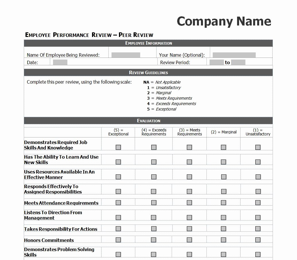Employee Performance Review Template Excel Elegant Employee Performance Review Checklist