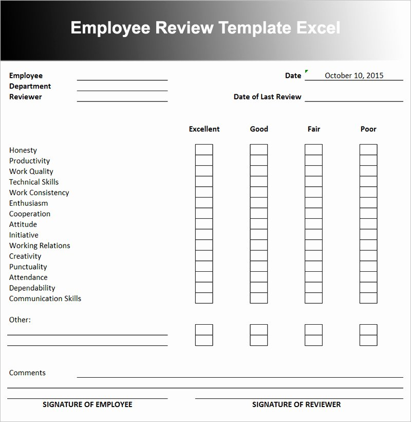 Employee Performance Review Template Excel Elegant Employee Performance Review Template
