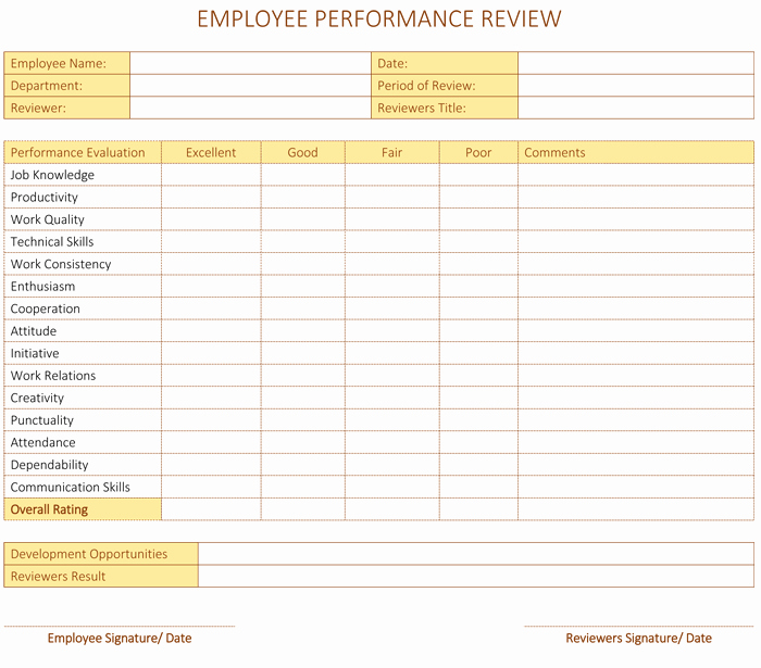 Employee Performance Review Template Excel Lovely Employee Performance Review Template for Word Dotxes
