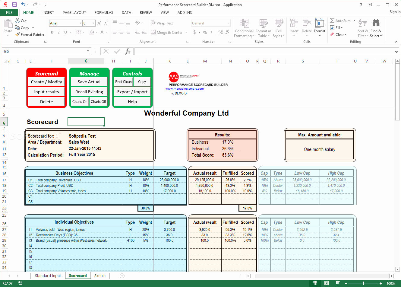 Employee Performance Review Template Excel Luxury Download Performance Scorecard Builder 2 4 1 0