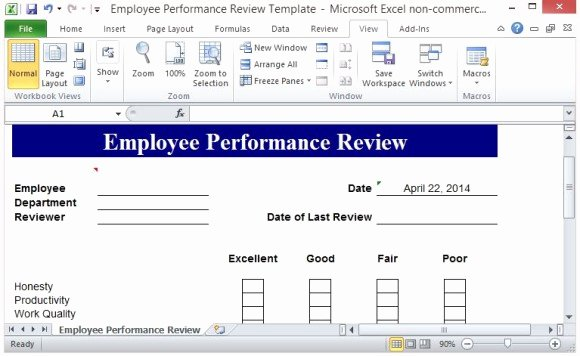 Employee Performance Review Template Excel Luxury Free Performance Review Template form for Word 2007