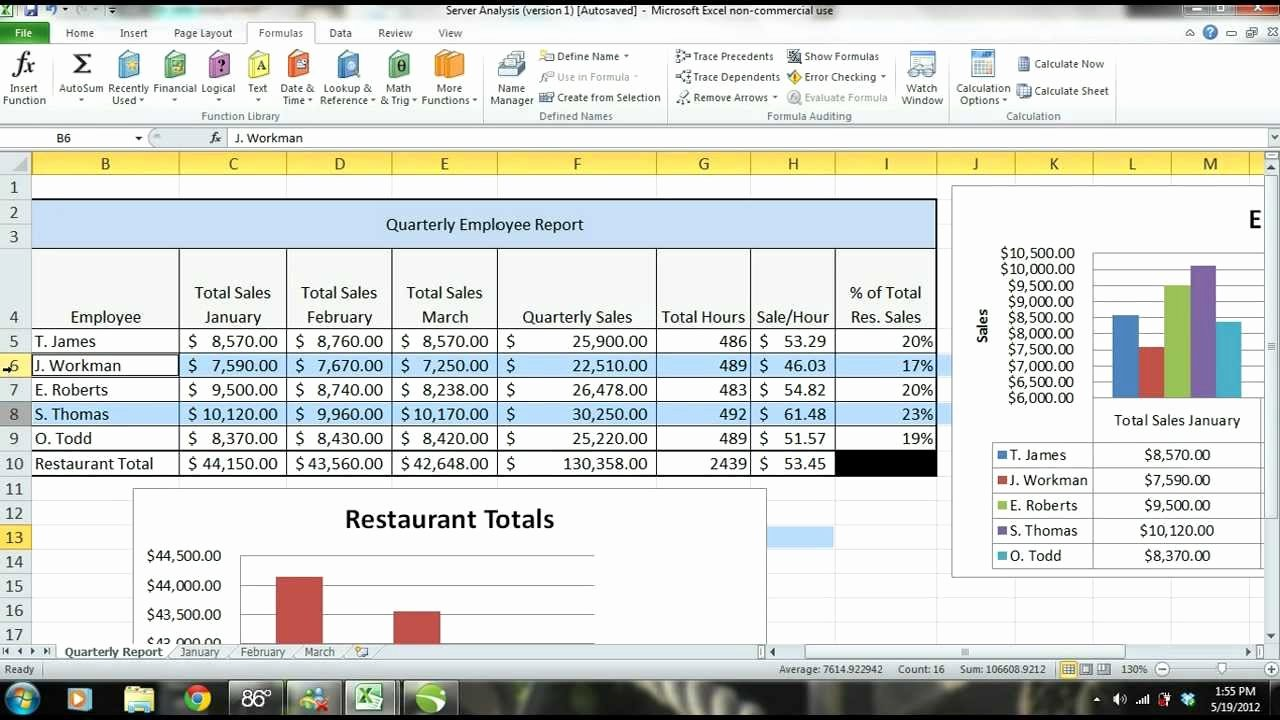 Employee Performance Review Template Excel New Ms Excel 2010 Tutorial Employee Sales Performance Report