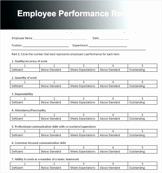 Employee Performance Review Template Pdf Best Of Sample Employee Performance Evaluation form Job Appraisal
