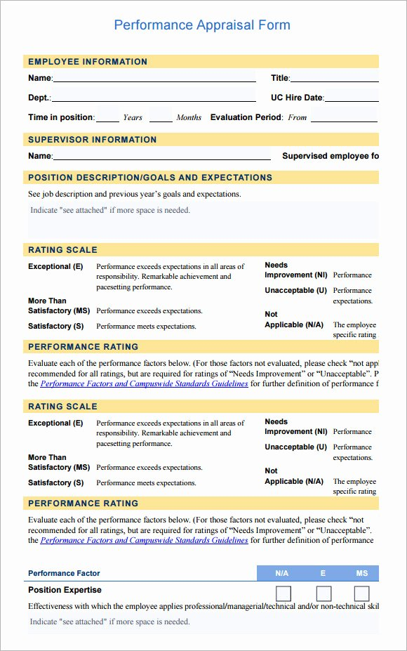 Employee Performance Review Template Pdf Elegant 13 Employee Evaluation form Sample – Free Examples