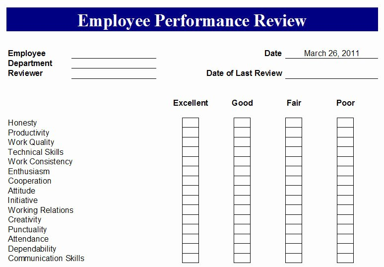 Employee Performance Review Template Pdf Elegant Employee Performance Review form