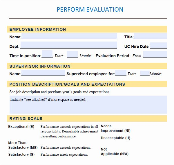 Employee Performance Review Template Pdf Elegant Performance Evaluation 9 Download Free Documents In Pdf