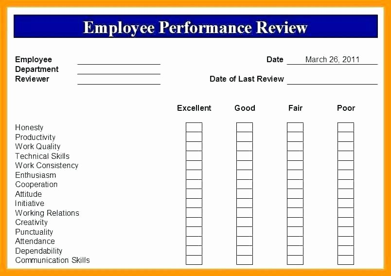 Employee Performance Review Template Pdf Lovely Annual Performance Evaluation Template Employee