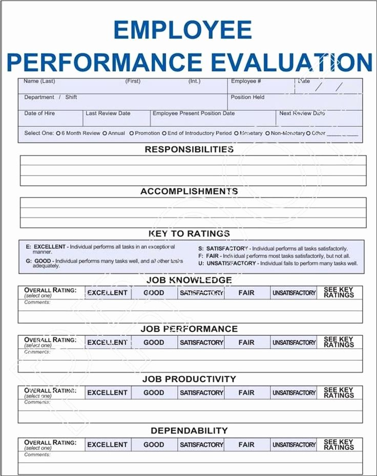 Employee Performance Review Template Pdf Lovely Job Performance Evaluation Frompo 1