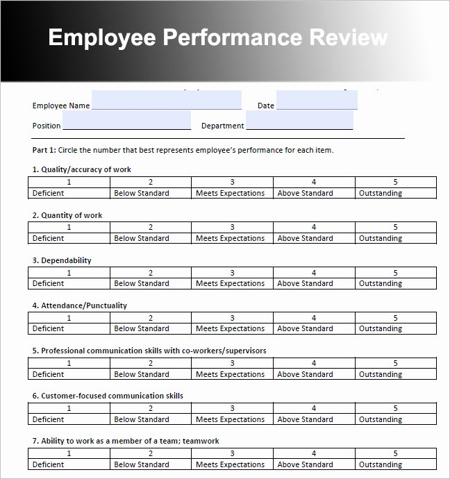 Employee Performance Review Template Word Elegant 26 Employee Performance Review Templates Free Word Excel