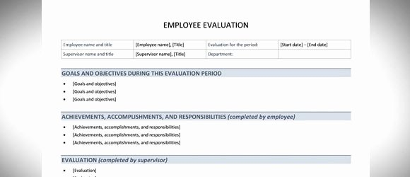 Employee Performance Review Template Word Inspirational Best Free Employee Evaluation Templates and tools