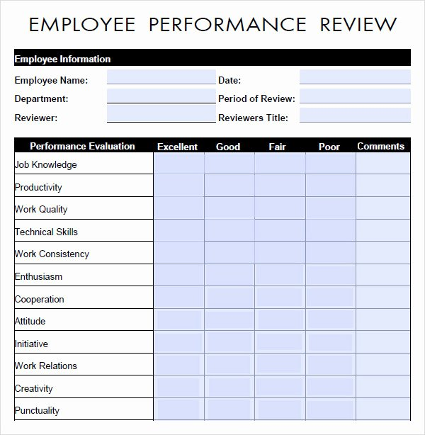Employee Performance Review Template Word Lovely 10 Sample Performance Evaluation Templates to Download