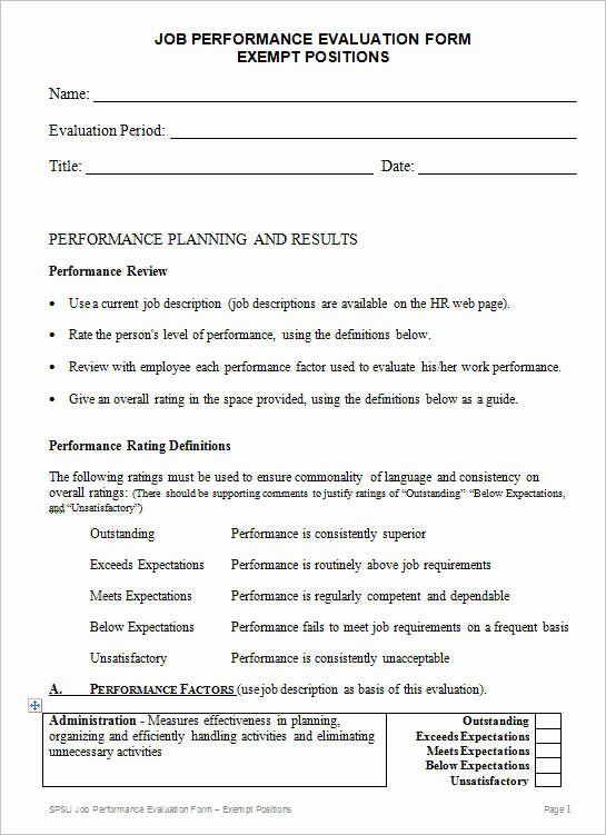 Employee Performance Review Template Word Lovely 31 Employee Evaluation form Templates Free Word Excel