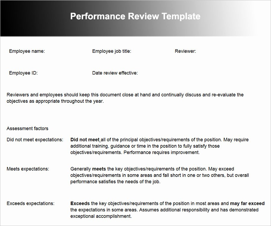 Employee Performance Review Template Word Luxury 26 Employee Performance Review Templates Free Word Excel