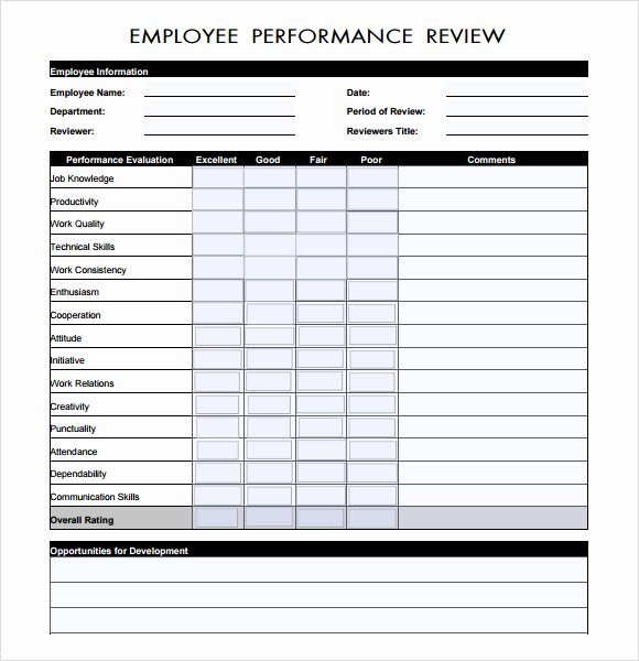 Employee Performance Review Template Word Luxury 8 Performance Evaluation Samples Templates Examples