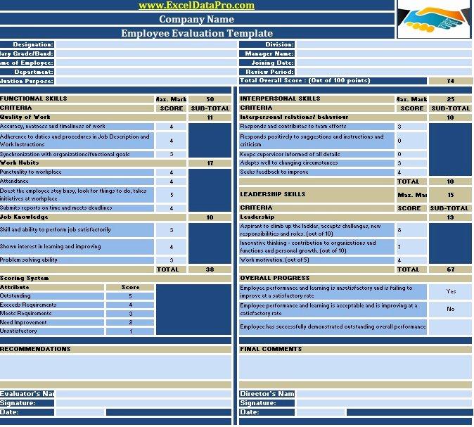 Employee Performance Scorecard Template Beautiful Download Employee Evaluation or Employee Performance