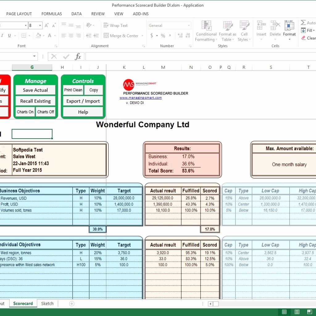 Employee Performance Scorecard Template Excel Unique Employee Performance Scorecard Template Excel Templates