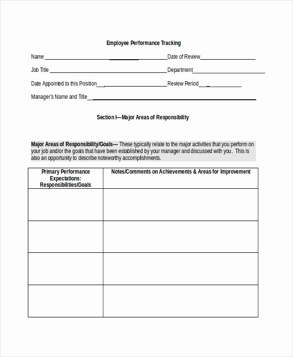 Employee Performance Tracking Template Elegant Sample Employee Tracking form 7 Free Documents In Pdf