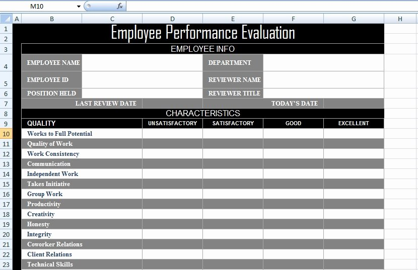 Employee Performance Tracking Template Excel Luxury Employee Performance Evaluation form Xls Free Excel