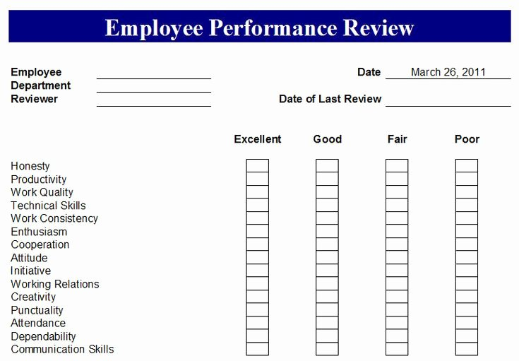 Employee Performance Tracking Template Unique Free Employee Evaluation forms Printable Google Search
