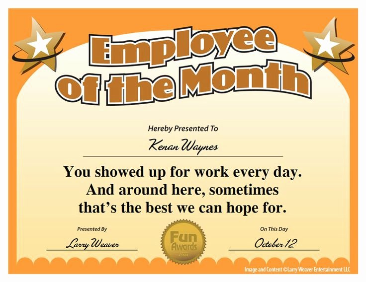Employee Recognition Award Template Fresh 16 Best Images About Funny Employee Awards On Pinterest