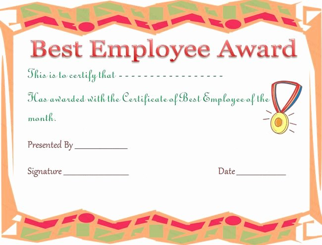 Employee Recognition Award Template Fresh Best Employee Award Certificate Template