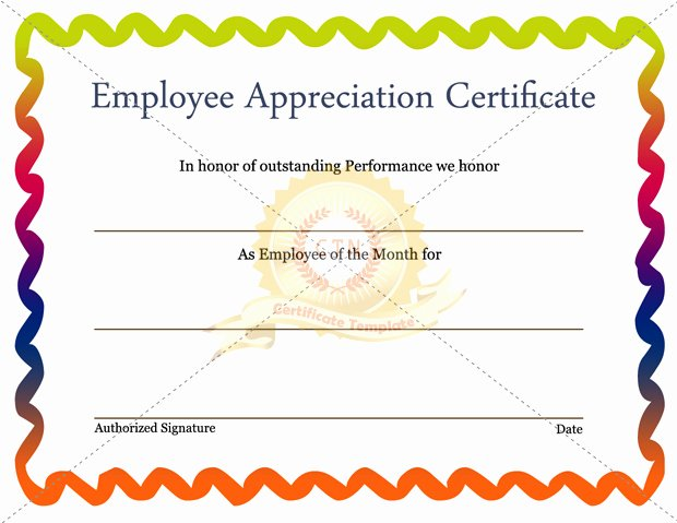 Employee Recognition Award Template Fresh Free Editable Employee Appreciation Certificate Example