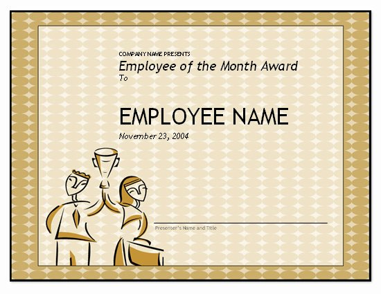 Employee Recognition Award Template Fresh Free Employee Of the Month Template for Employee