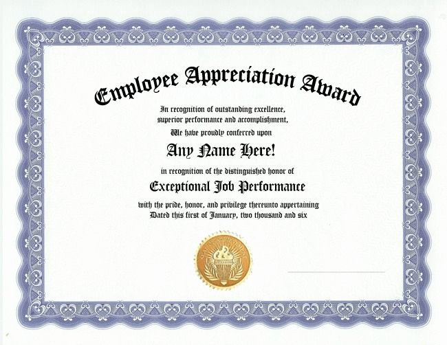 Employee Recognition Award Template Inspirational Employee Appreciation Award Certificate Office Job Work