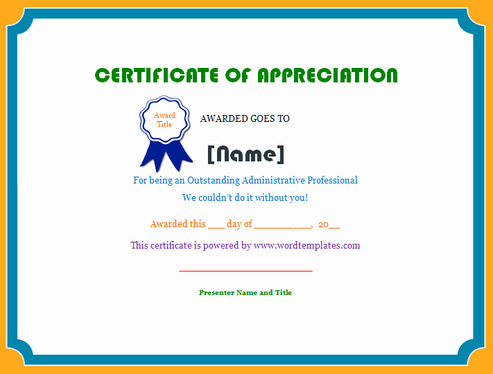 Employee Recognition Award Template Inspirational Employee Certificate Of Appreciation Work