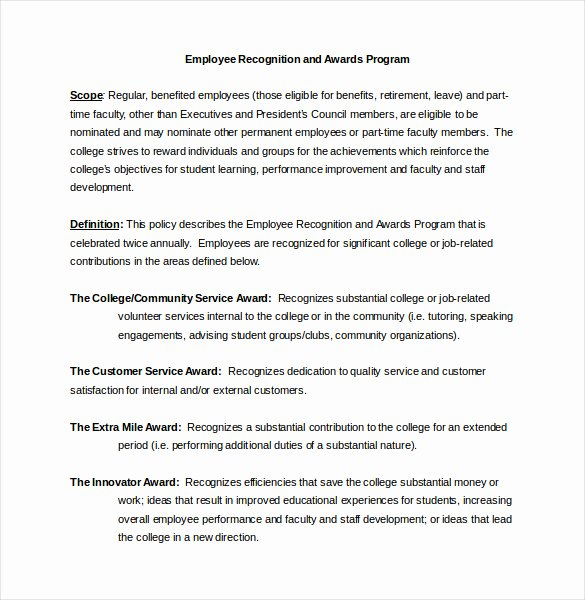 Employee Recognition Award Template Unique Employee Recognition Awards Template 9 Free Word Pdf