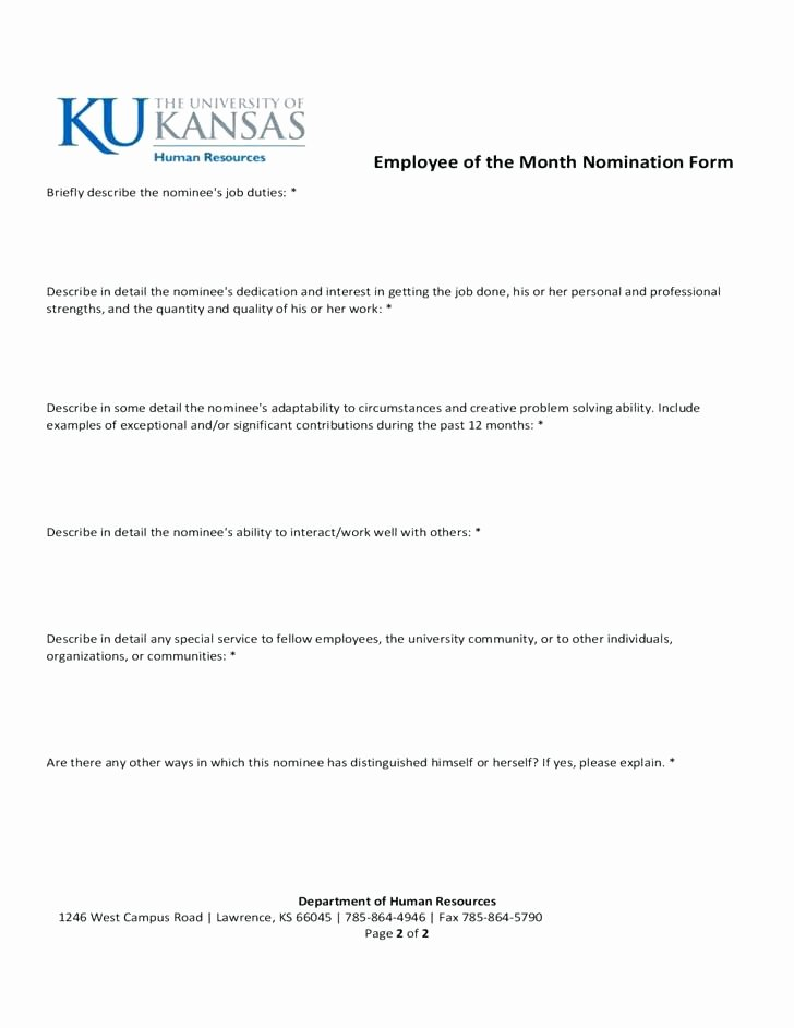Employee Recognition form Template Awesome Employee Recognition Nomination form Template the Month