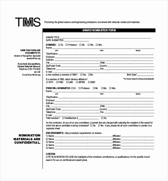 Employee Recognition form Template Inspirational Award Nomination form Template 12 Free Word Pdf