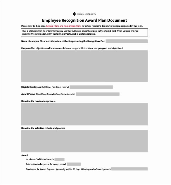 Employee Recognition form Template Luxury Employee Recognition Awards Template 9 Free Word Pdf