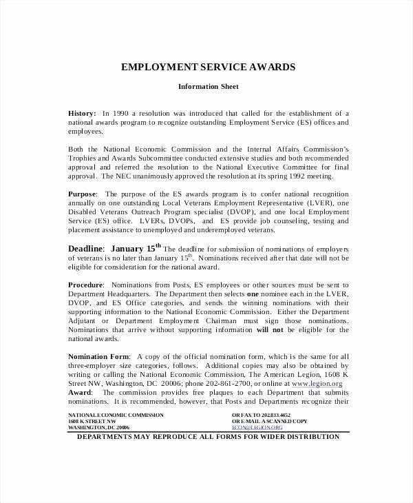 Employee Recognition form Template Unique top Result Employee the Month Nomination form Template