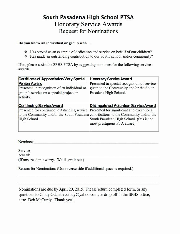 Employee Recognition Nomination form Template Awesome Employee Award Nomination form Template Recognition Awards